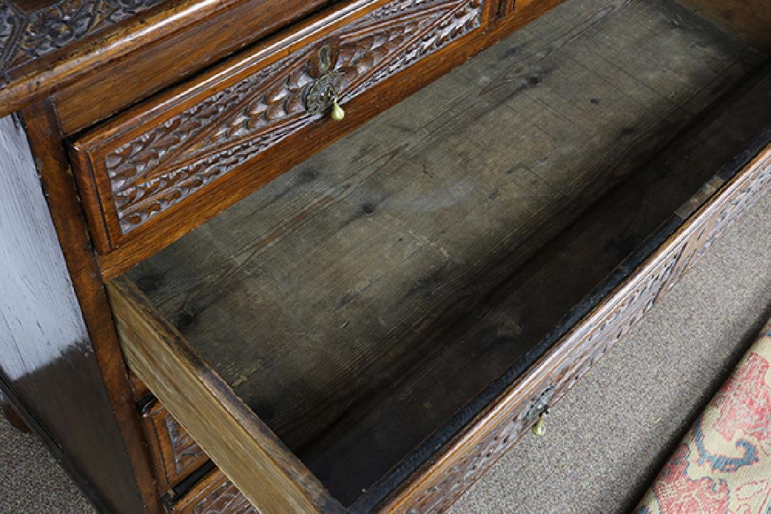 Anglo-Indian carved elm chest circa 1870 - 4