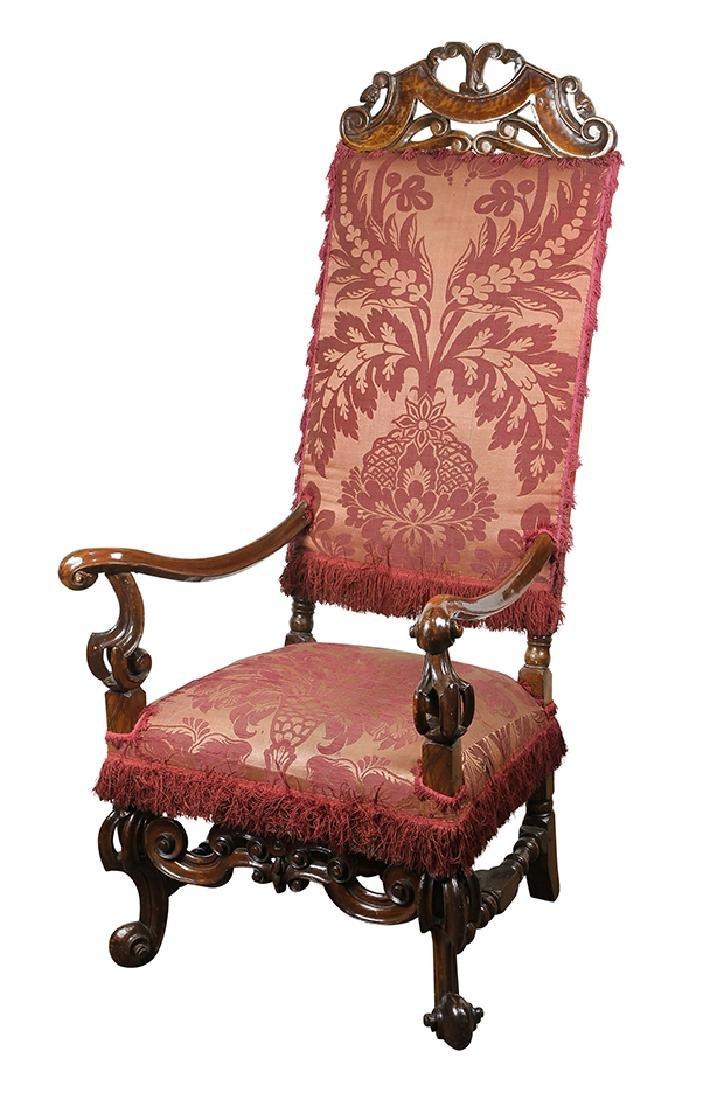 English Jacobean style walnut armchair circa 1850,