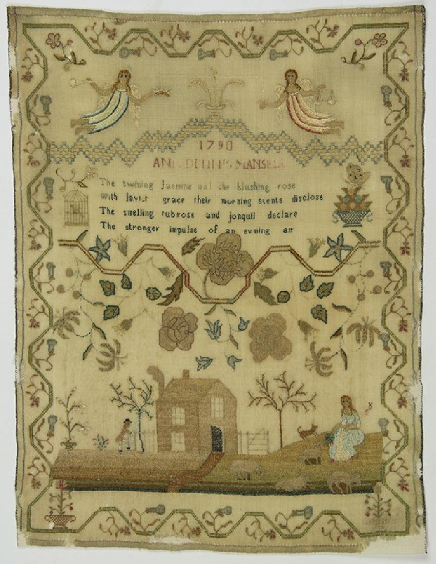British silk on wool canvas sampler, dated 1790, signed