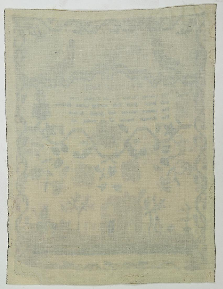 British silk on wool canvas sampler, dated 1790, signed - 2