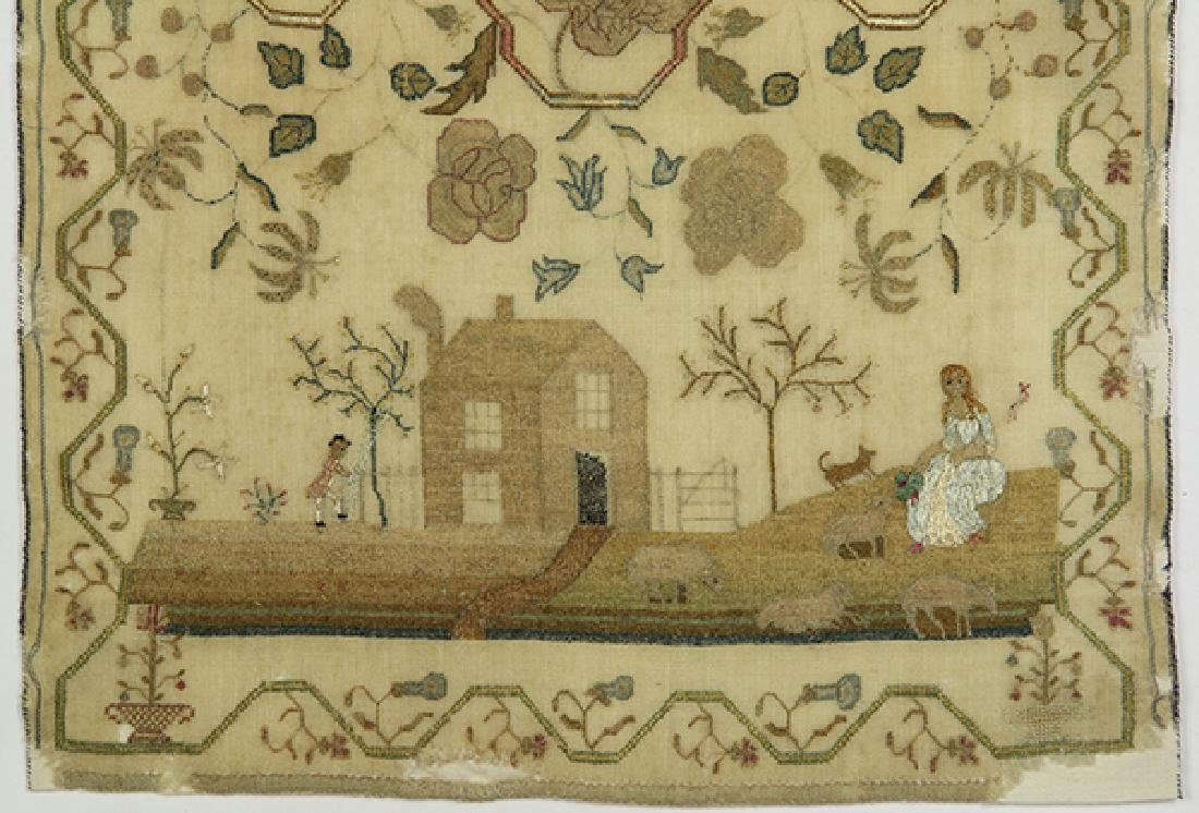British silk on wool canvas sampler, dated 1790, signed - 4