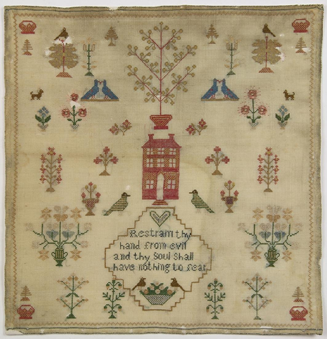British silk on wool canvas sampler, 18th/19th Century,