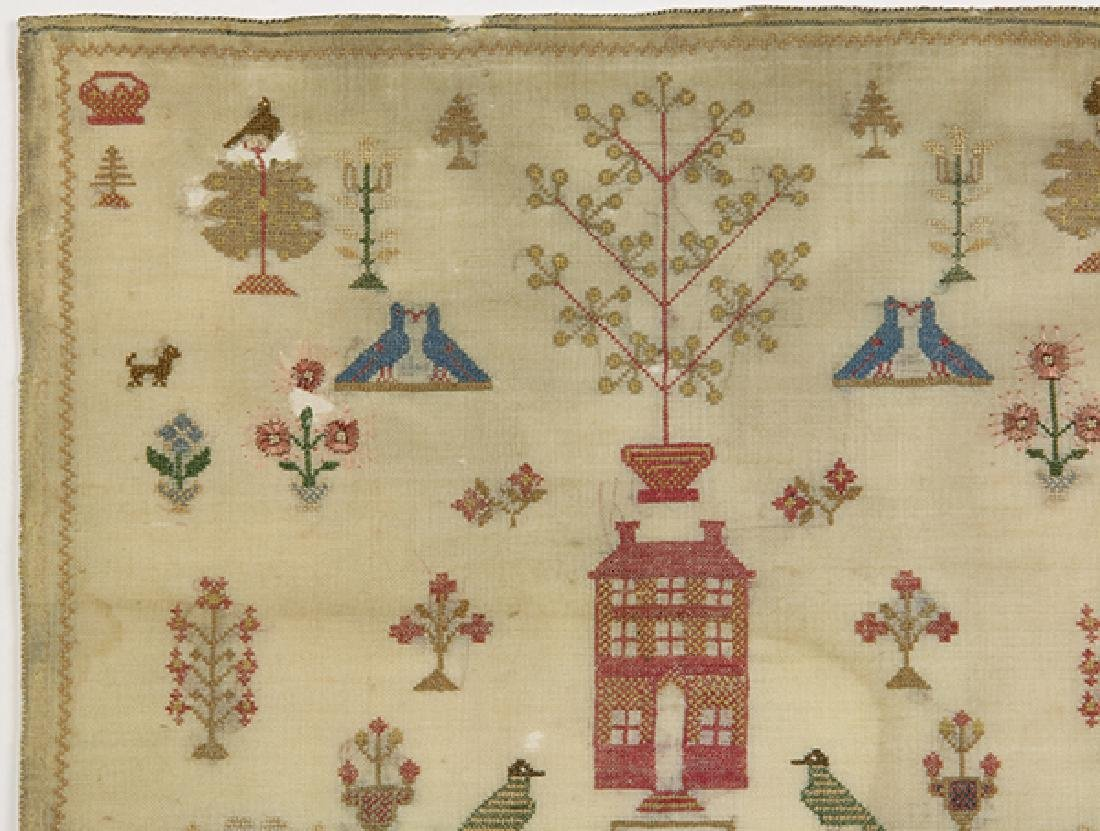 British silk on wool canvas sampler, 18th/19th Century, - 3