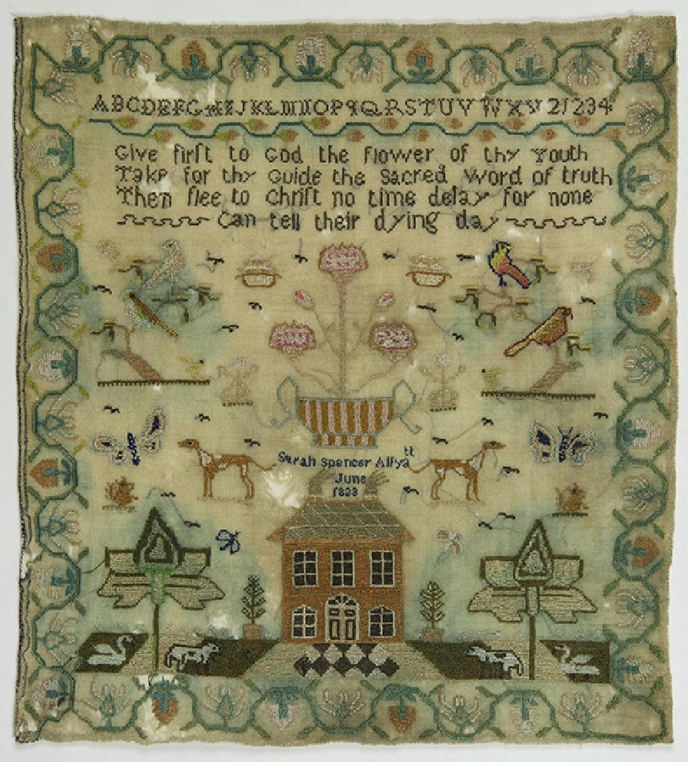 British silk on wool sampler, 1833,  signed Sarah