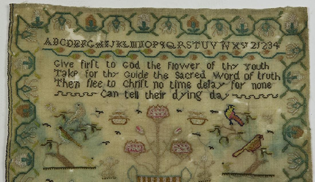British silk on wool sampler, 1833,  signed Sarah - 4