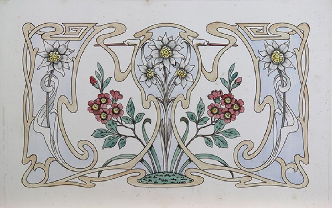 Art Nouveau style ceramic tile, early 20th Century,