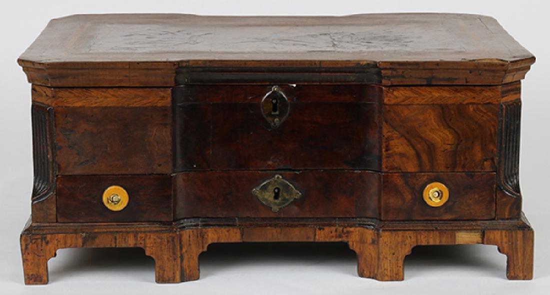 English marquetry decorated walnut box circa 1840,