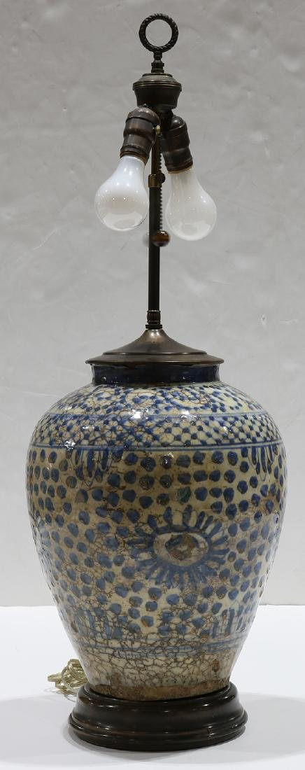 Early Persian pottery jar mounted as a lamp, having a - 2