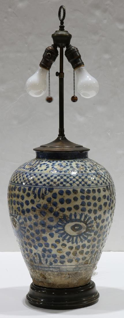 Early Persian pottery jar mounted as a lamp, having a - 3