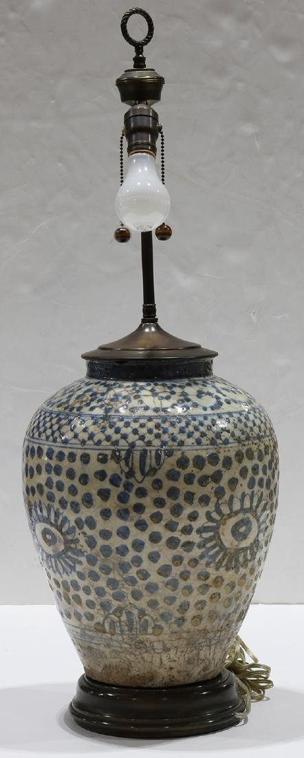 Early Persian pottery jar mounted as a lamp, having a - 4