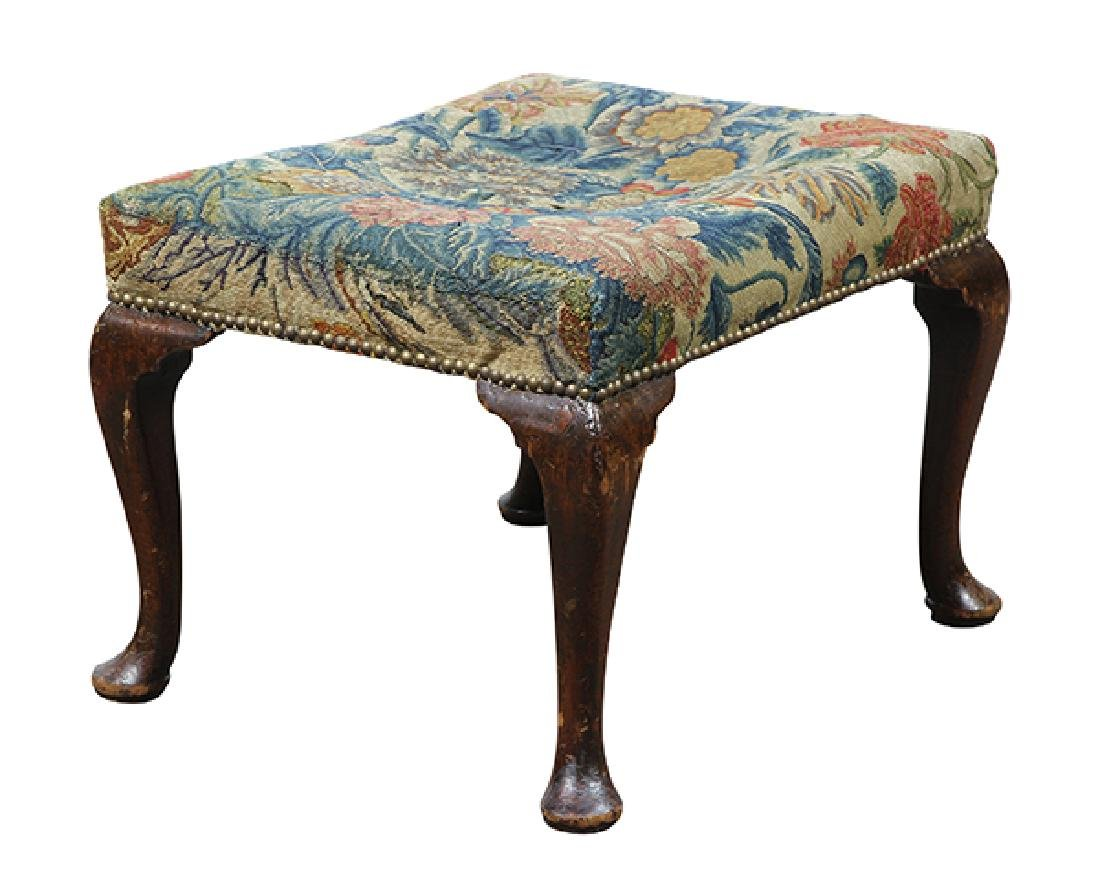 Queen Anne needlepoint upholstered ottoman circa 1770, - 2