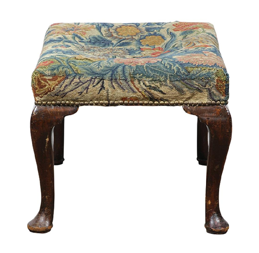 Queen Anne needlepoint upholstered ottoman circa 1770, - 3