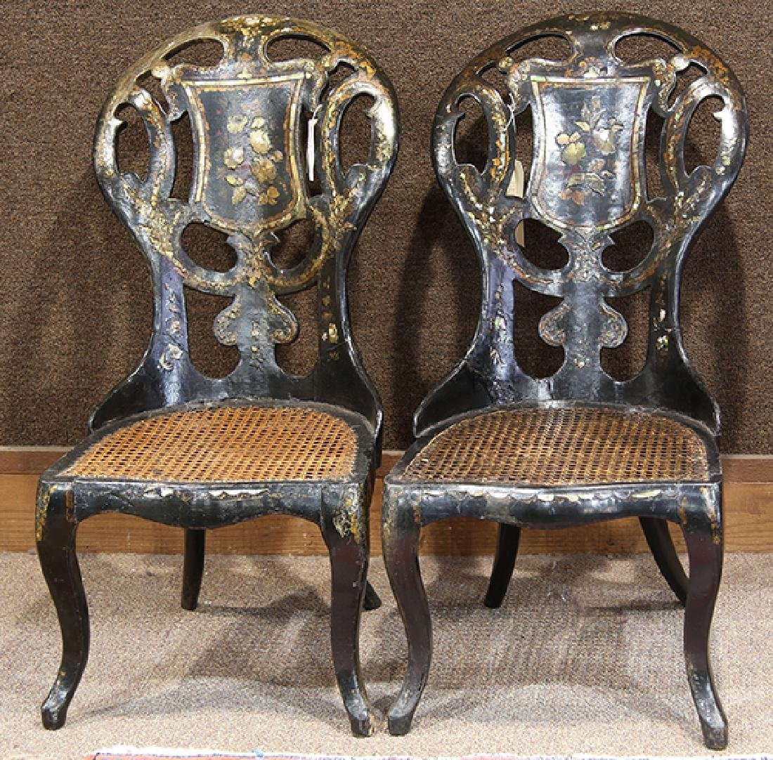 Pair of English Victorian inlaid salon chairs, mid-19th