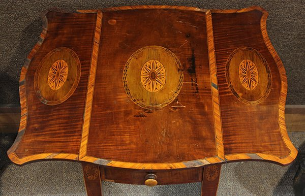 George III inlaid sycamore on mahogany pembroke table - 2
