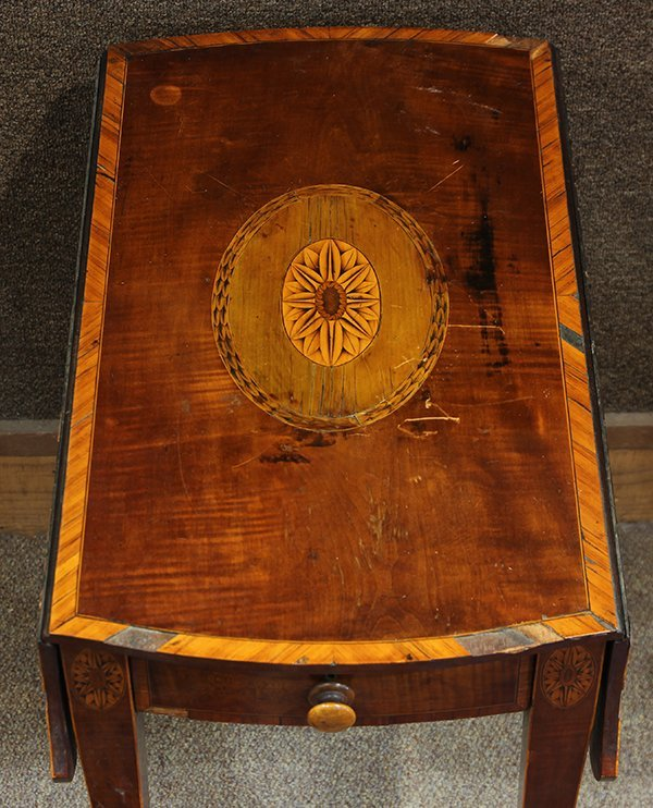 George III inlaid sycamore on mahogany pembroke table - 3