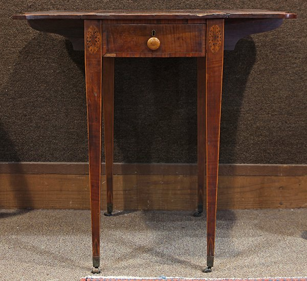 George III inlaid sycamore on mahogany pembroke table - 5