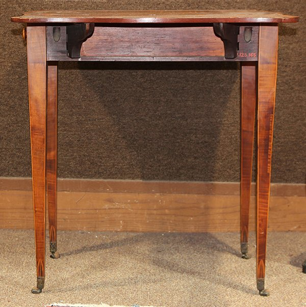 George III inlaid sycamore on mahogany pembroke table - 6