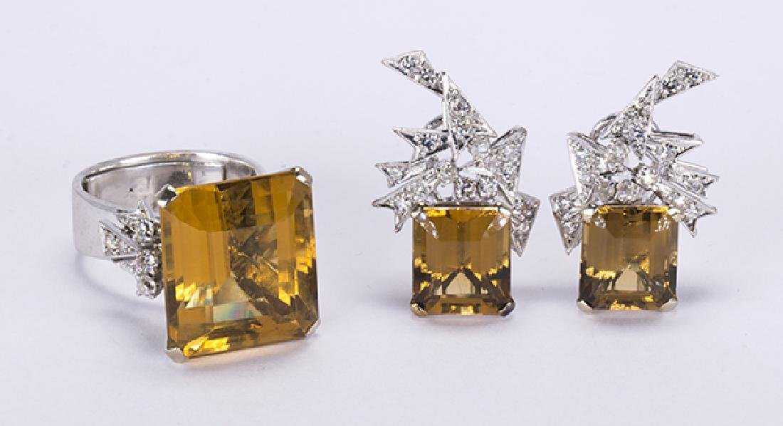 Citrine, diamond, 14k white gold jewelry suite