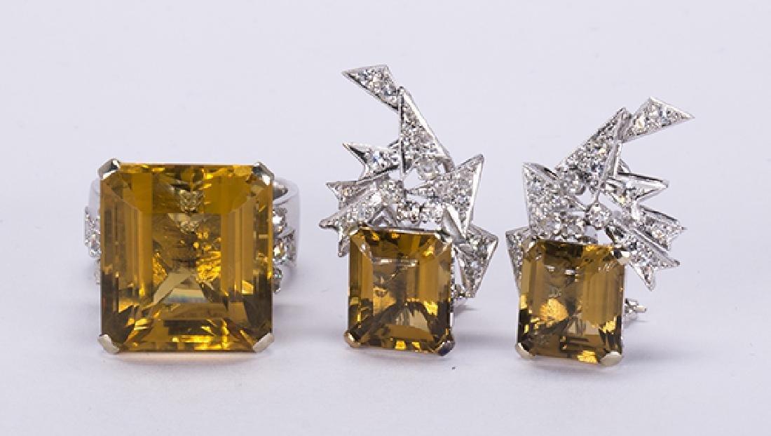 Citrine, diamond, 14k white gold jewelry suite - 2