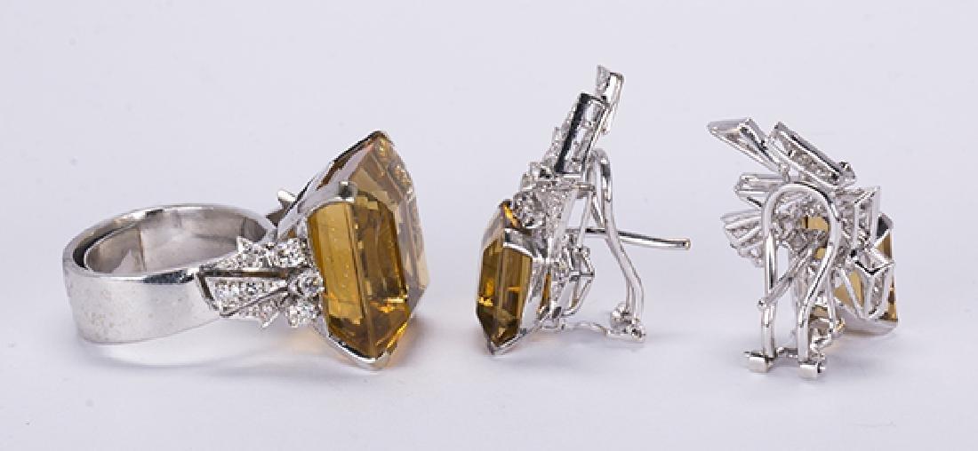 Citrine, diamond, 14k white gold jewelry suite - 3