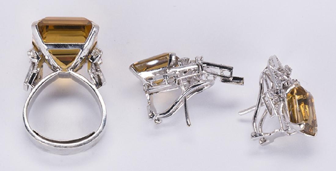 Citrine, diamond, 14k white gold jewelry suite - 4