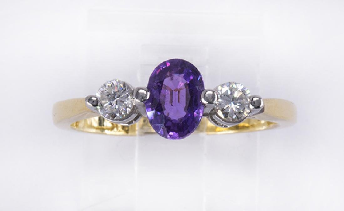 Purple sapphire, diamond, platinum and 18k yellow gold