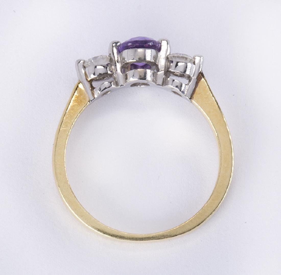 Purple sapphire, diamond, platinum and 18k yellow gold - 3