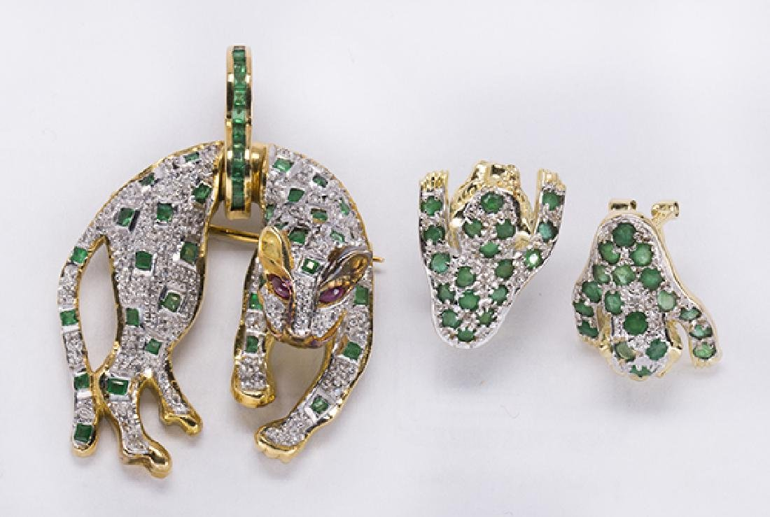 Emerald, ruby, diamond and yellow gold leopard jewelry