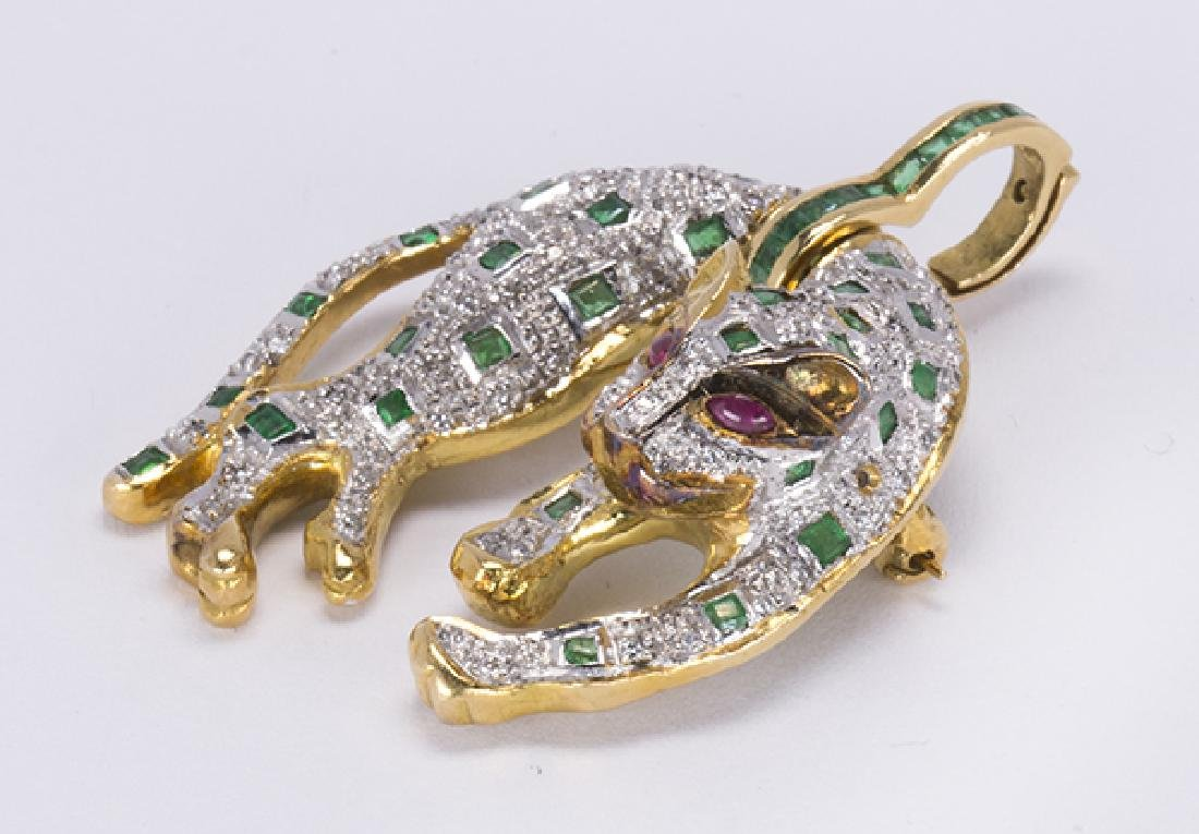 Emerald, ruby, diamond and yellow gold leopard jewelry - 2