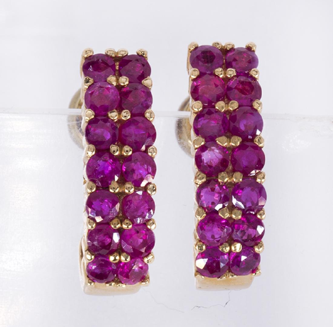 Pair of ruby and 14k yellow gold earrings - 2