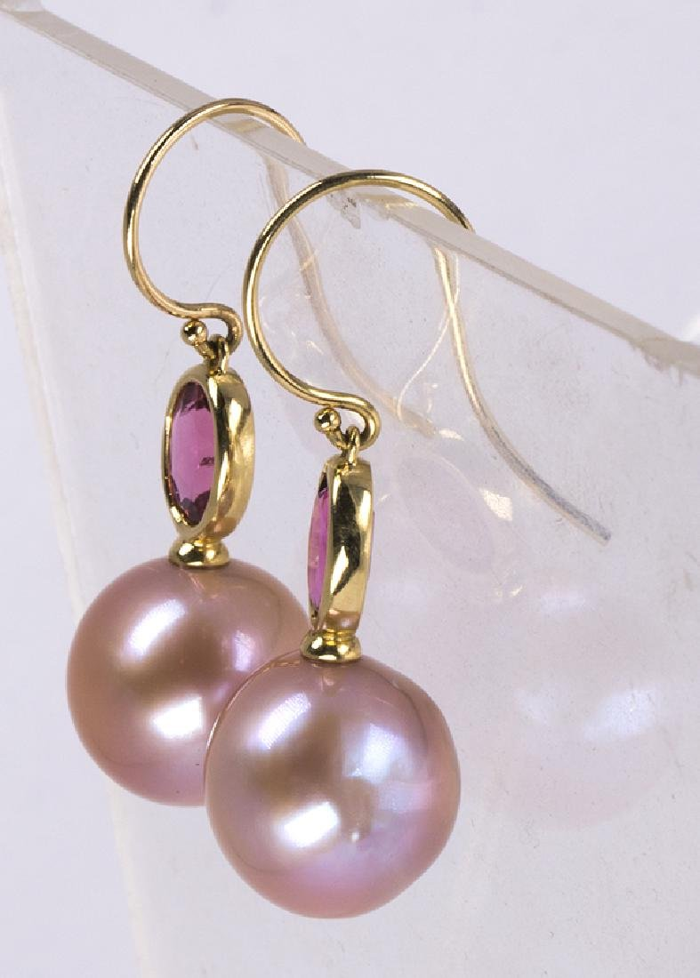 Cultured pearl, tourmaline and 14k yellow gold earrings - 2