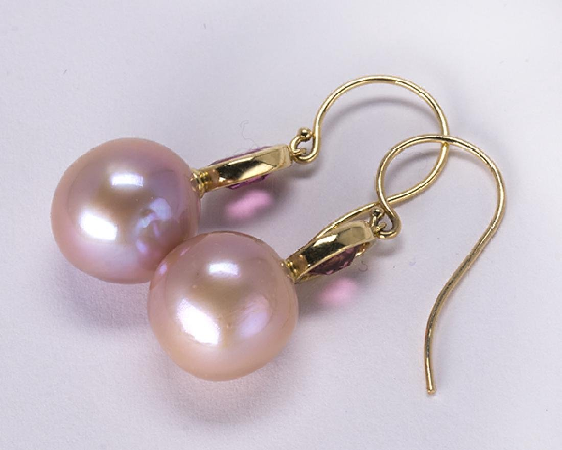 Cultured pearl, tourmaline and 14k yellow gold earrings - 3