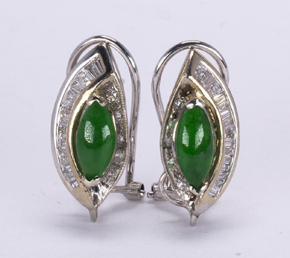 Pair of jadeite, diamond and 14k white gold earrings