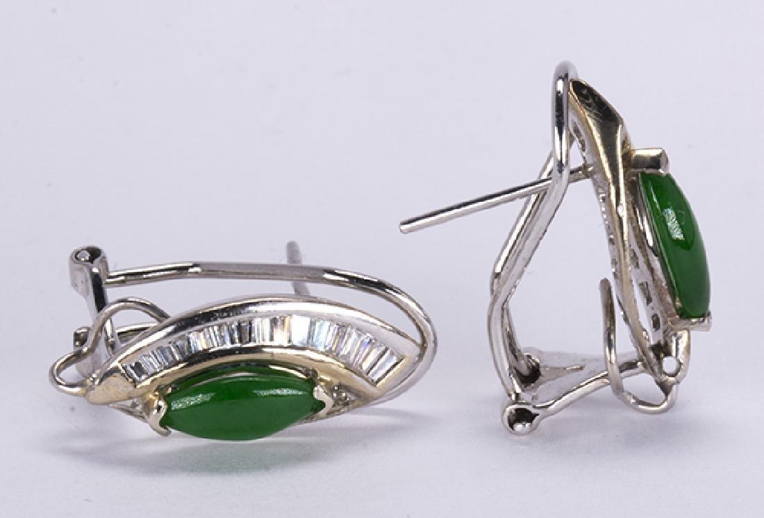 Pair of jadeite, diamond and 14k white gold earrings - 2