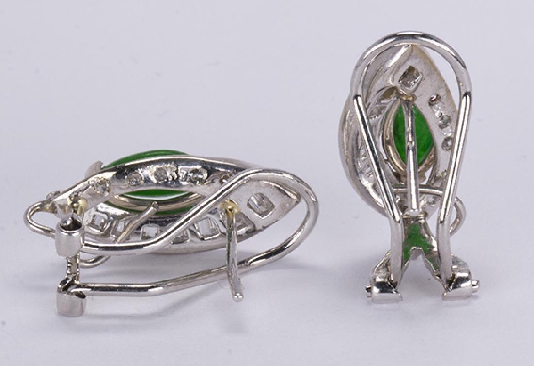 Pair of jadeite, diamond and 14k white gold earrings - 3