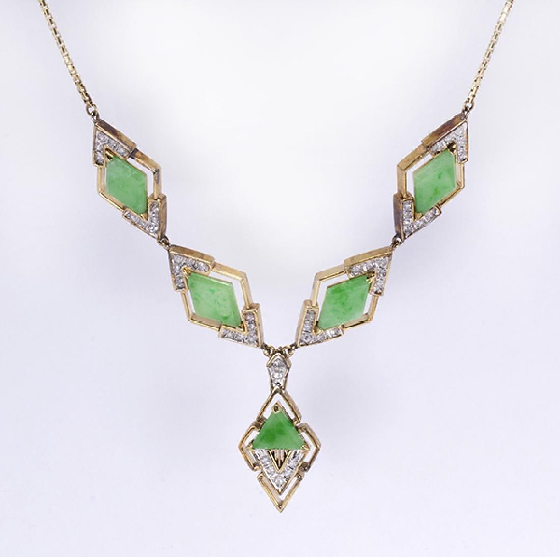 Jadeite, diamond, 14k yellow gold necklace