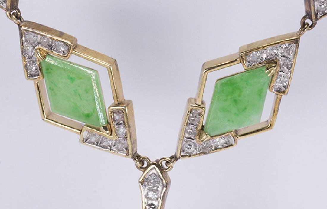 Jadeite, diamond, 14k yellow gold necklace - 2