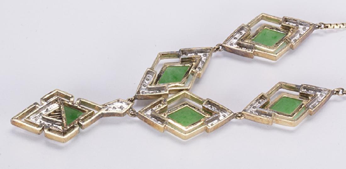 Jadeite, diamond, 14k yellow gold necklace - 3