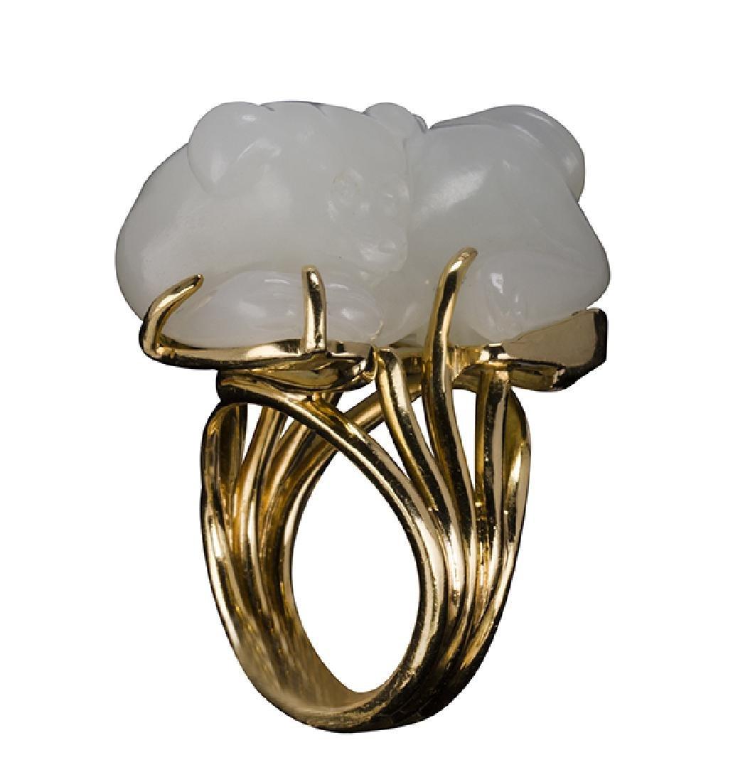 Gump's jadeite Foo dog, 18K yellow gold ring
