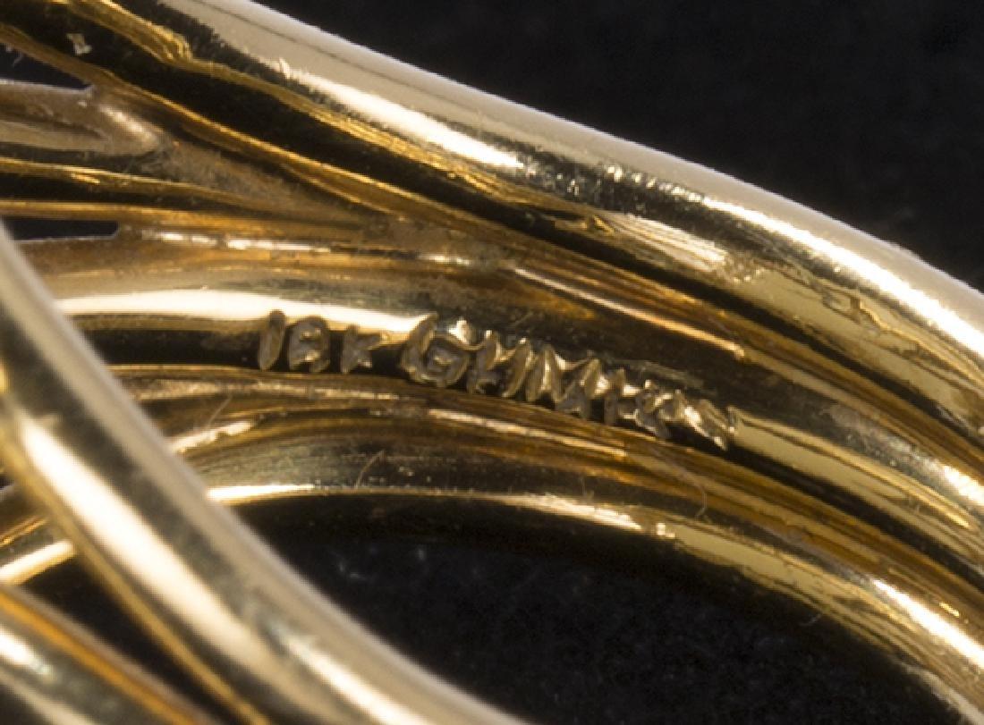 Gump's jadeite Foo dog, 18K yellow gold ring - 7