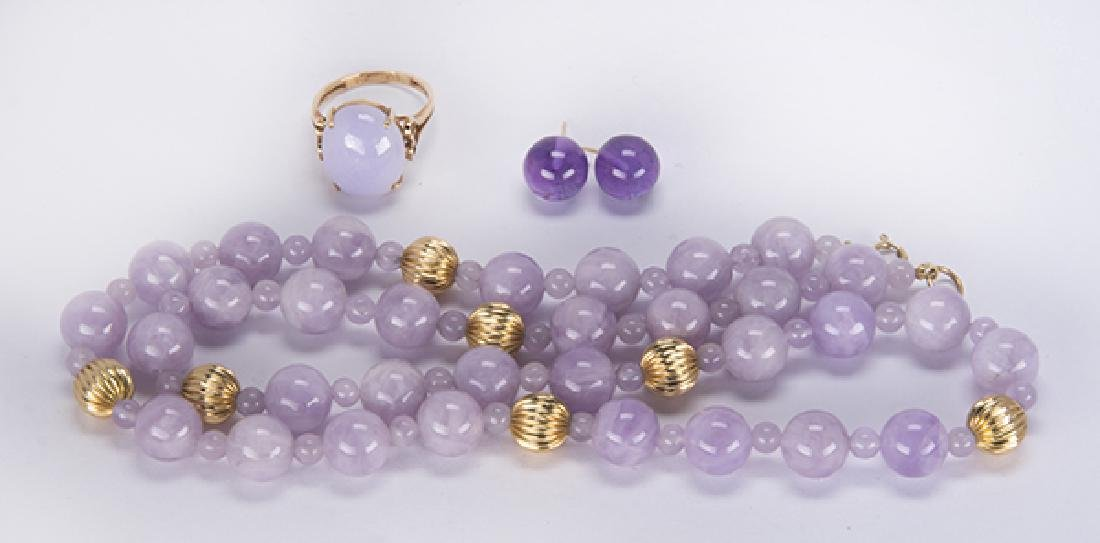 (Lot of 3) Amethyst, jadeite and 14k yellow gold