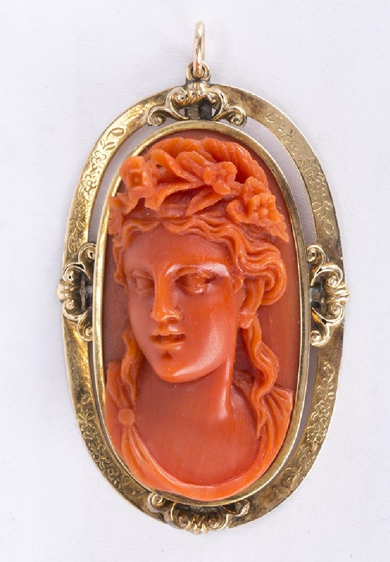 Victorian Coral cameo and 14k yellow gold pendant