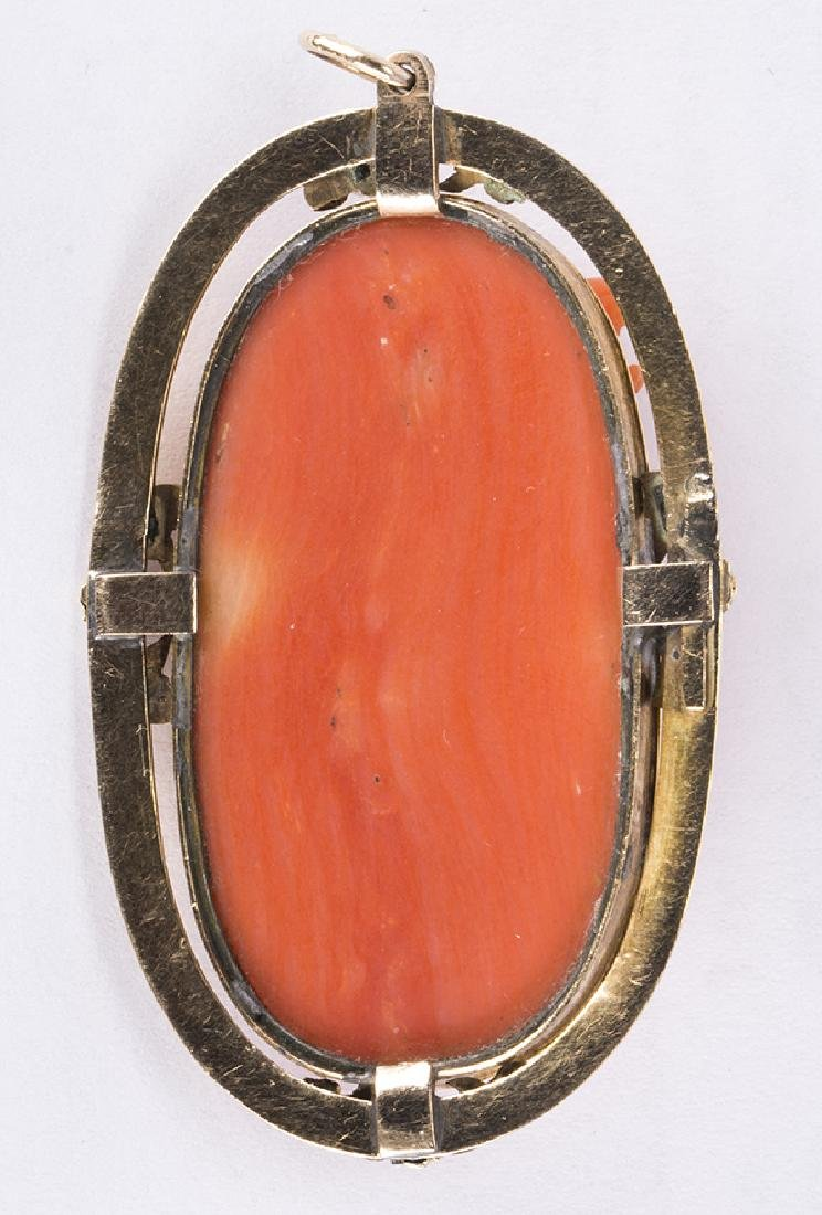 Victorian Coral cameo and 14k yellow gold pendant - 2