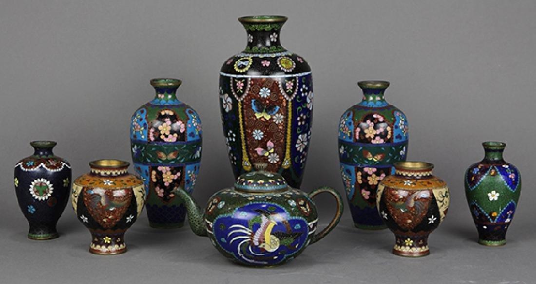 Japanese Cloisonne Vases, Teapot