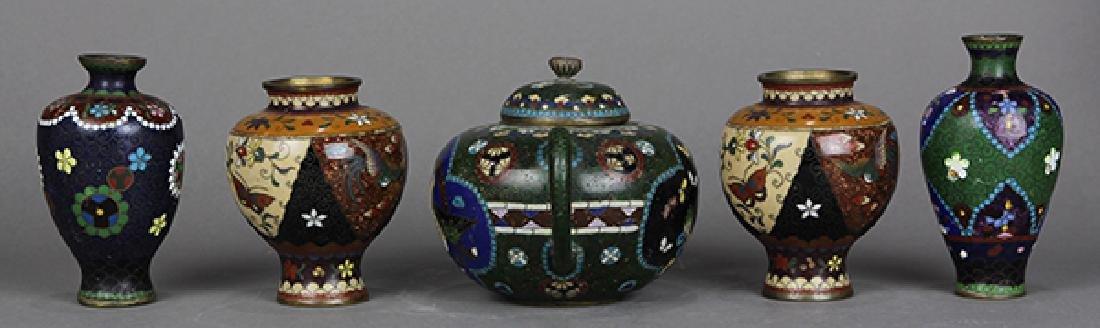 Japanese Cloisonne Vases, Teapot - 2