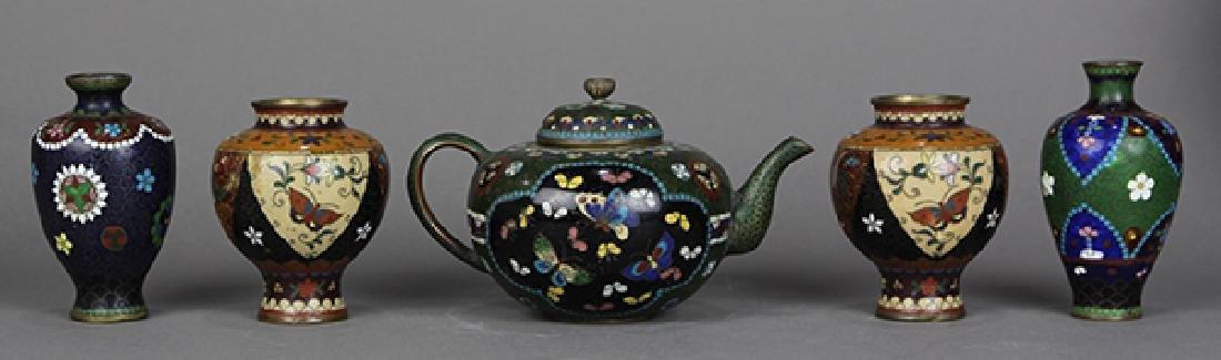 Japanese Cloisonne Vases, Teapot - 3