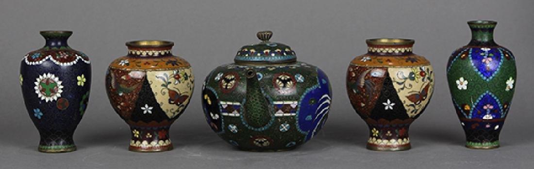Japanese Cloisonne Vases, Teapot - 4