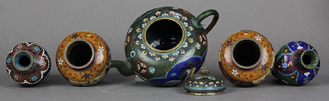 Japanese Cloisonne Vases, Teapot - 5