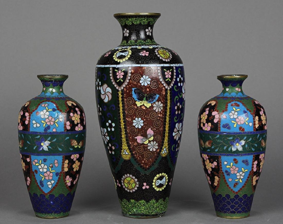 Japanese Cloisonne Vases, Teapot - 9