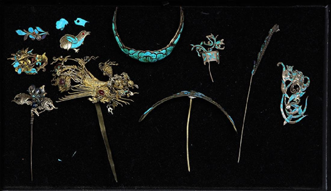 Chinese Kingfisher Feather Hairpins